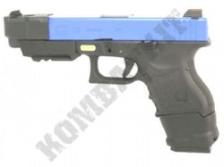WE E33 Advance Glock Replica Gas Blowback Airsoft BB Gun 2 Tone Black Blue Metal Slide